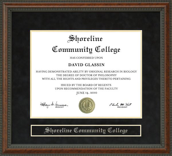 Shoreline Community College Diploma Frame: Wordyisms