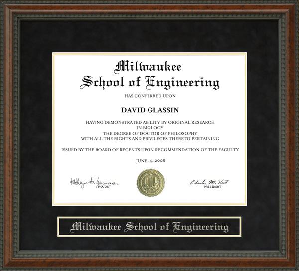 Milwaukee School Of Engineering Msoe Diploma Frame