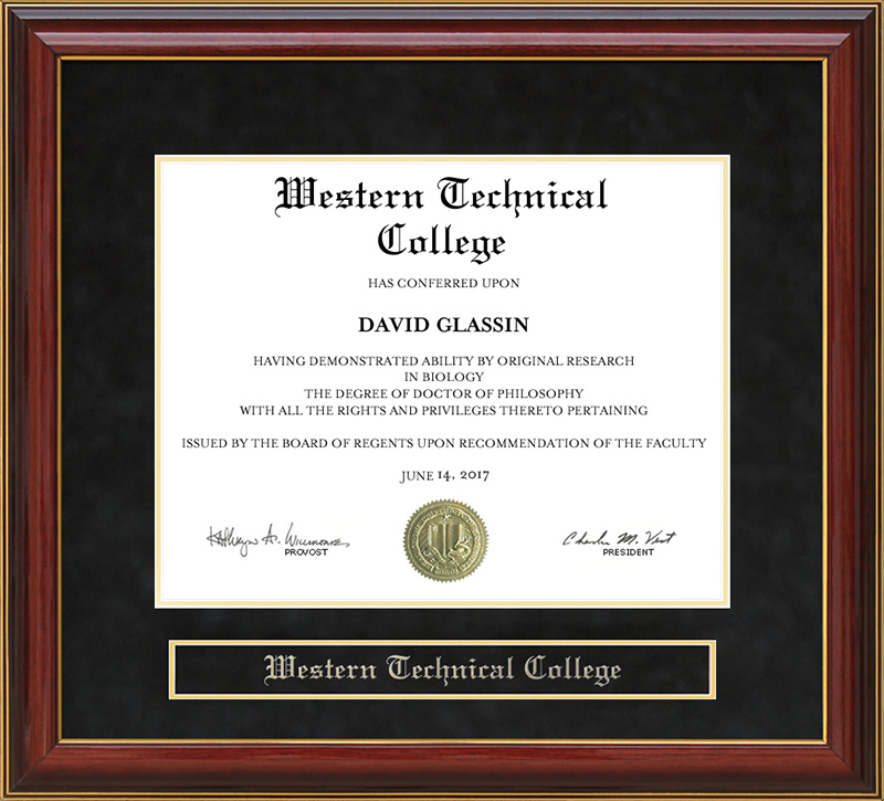 Western Technical College Mahogany Diploma Frame: Wordyisms