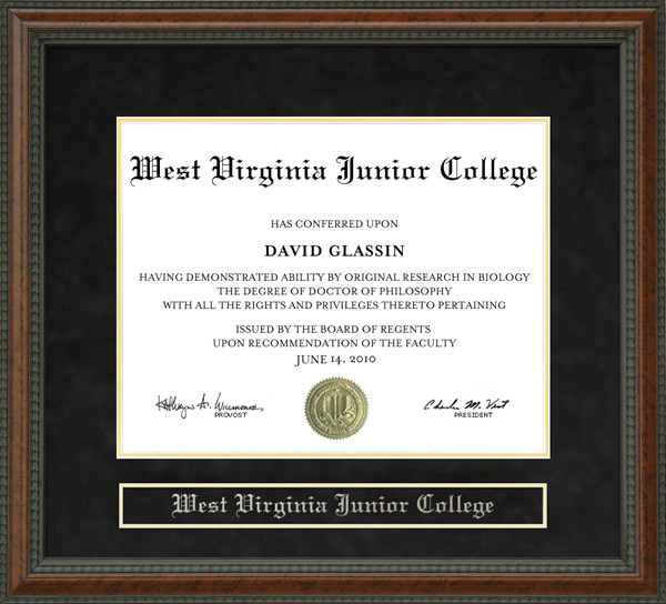 west virginia junior college diploma frame - Wvu Diploma Frame