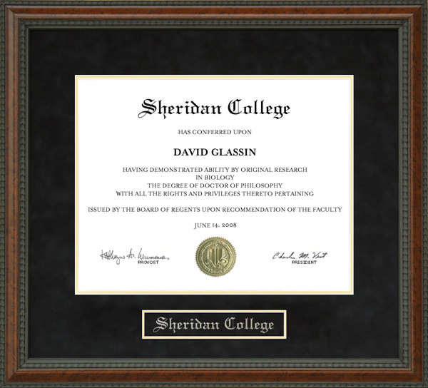 Sheridan College Diploma Frame Wordyisms