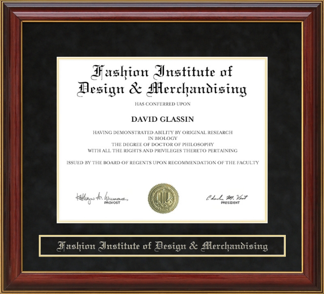 Fashion Institute Of Design Merchandising Mahogany Diploma Frame By Wordyisms