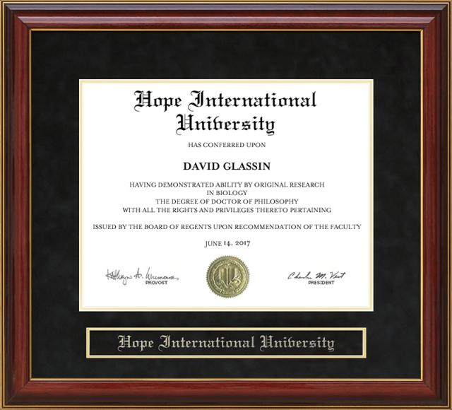 Hope International University Mahogany Diploma Frame By Wordyisms