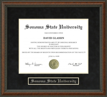 Sonoma State University (SSU) (CA) Diploma Frames and