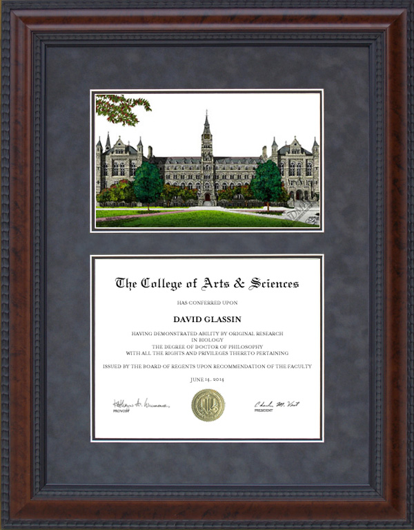 Diploma Frame With Licensed Georgetown University Campus