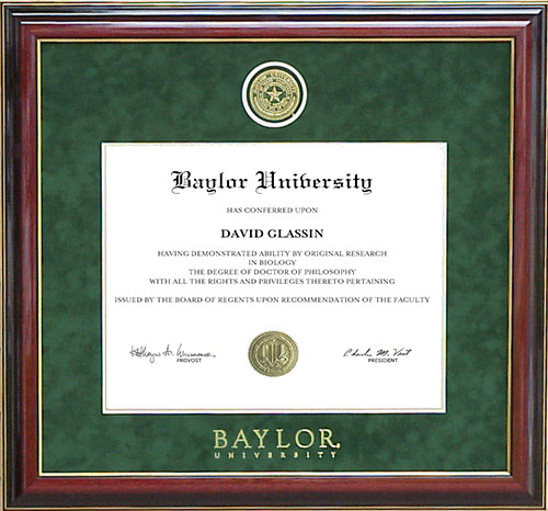 Baylor University Diploma Frame With Embossed School Seal By Wordyisms