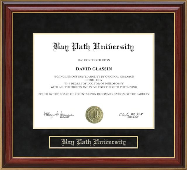 Bay Path University Mahogany Diploma Frame By Wordyisms
