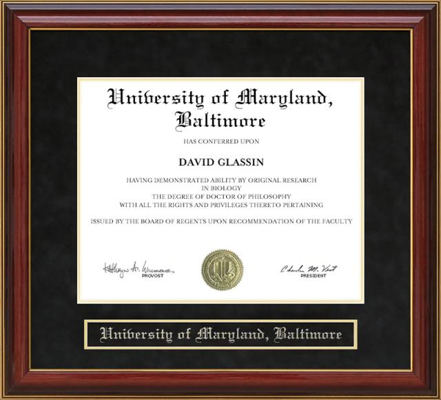 University Of Maryland Baltimore Mahogany Diploma Frame By Wordyisms