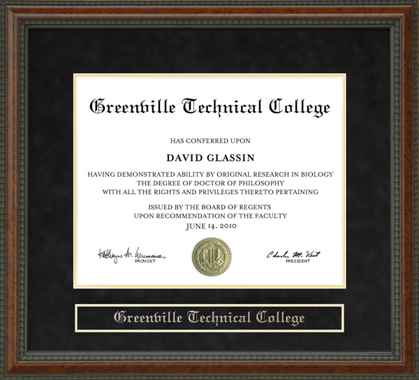 Greenville Technical College Greenville Tech Diploma Frame