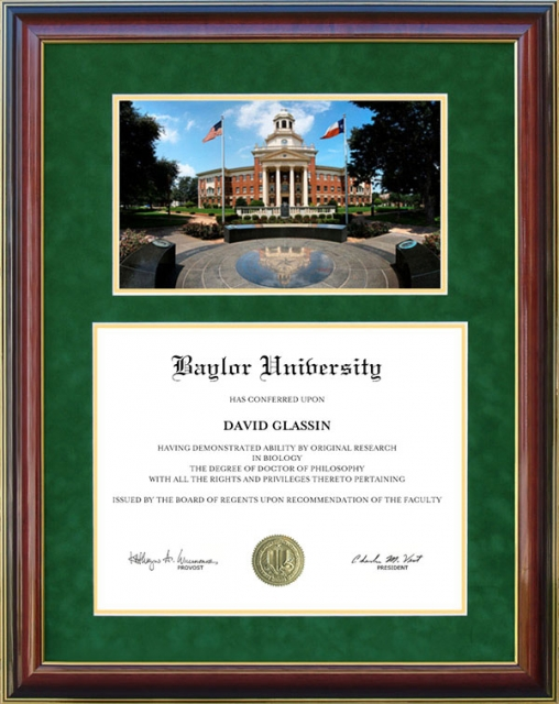 Baylor University Diploma Frame With Campus Artwork By Wordyisms