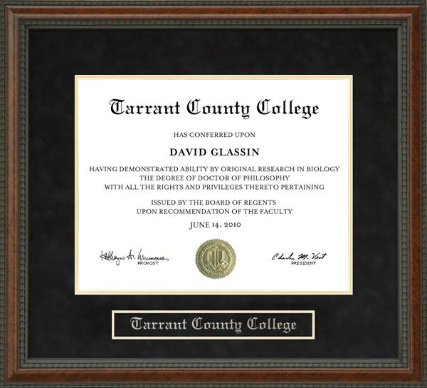 Tarrant County College Diploma Frame