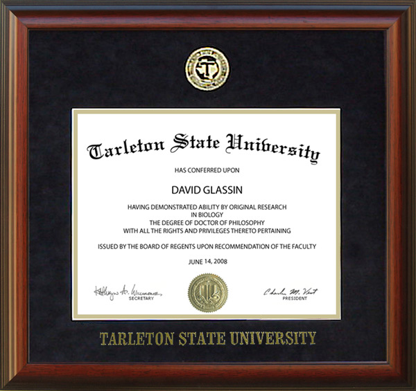 Tarleton State University Diploma Frame With Embossed