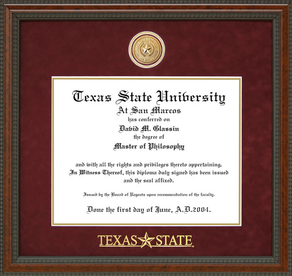 Texas State Logo Diploma Frame With Custom Medallion By