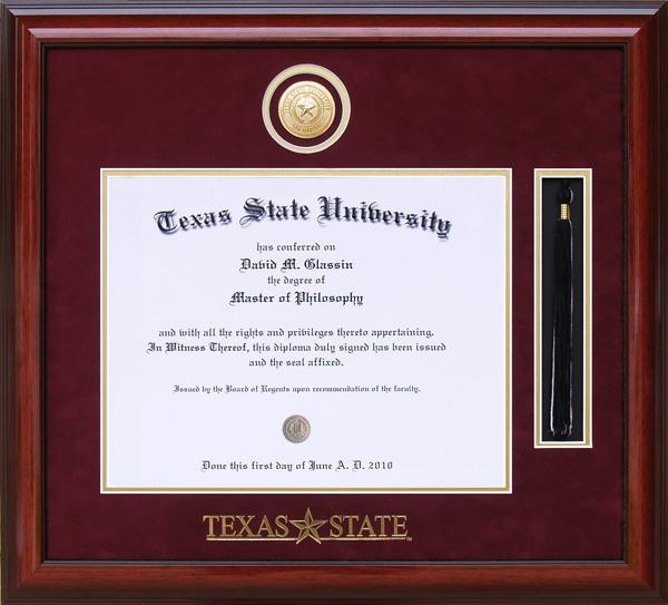 Texas State University Tassel Diploma Frame By Wordyisms