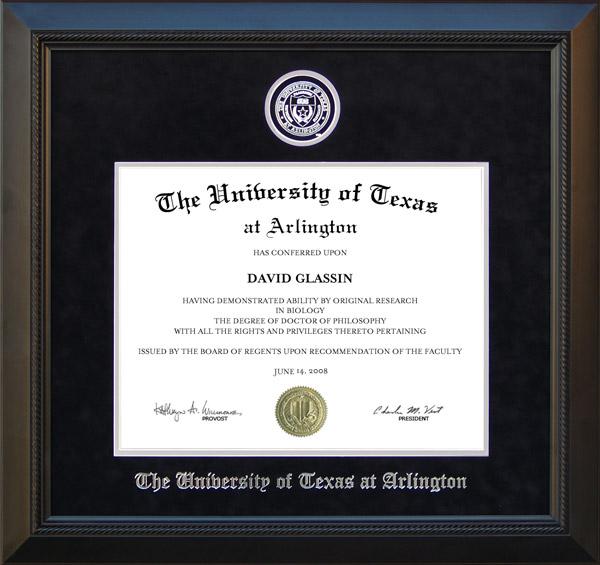 Ut Arlington Uta Diploma Frame In With Embossed School