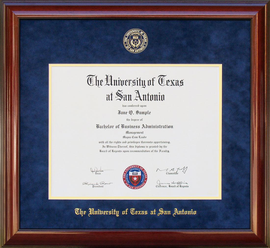 Ut San Antonio Utsa Diploma Frame With Embossed Suede Mat By Wordyisms