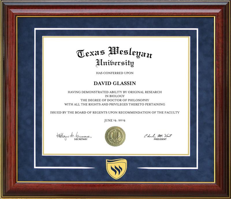 Texas Wesleyan University Logo Diploma Frame By Wordyisms