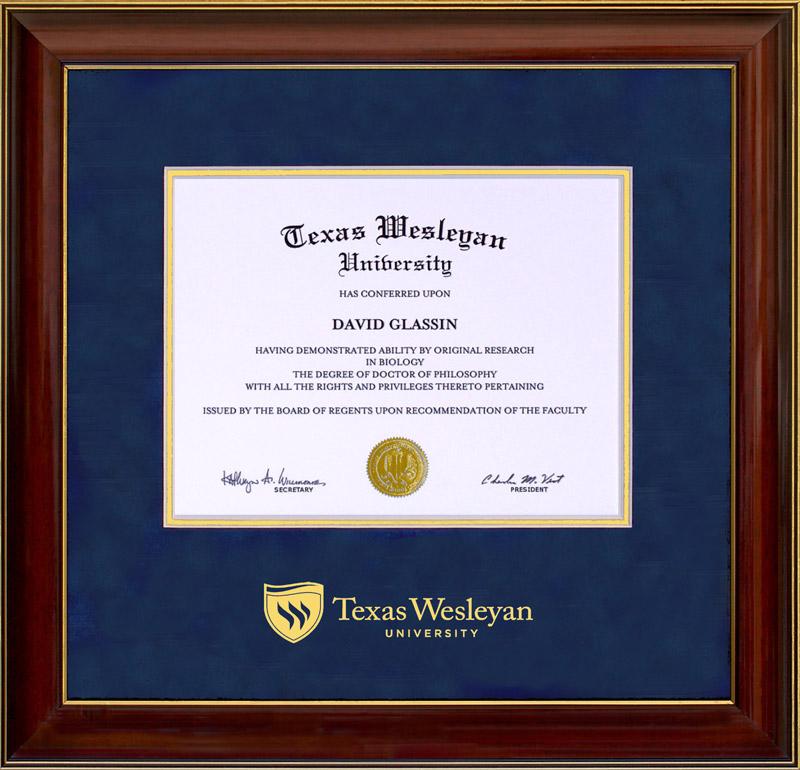 Texas Wesleyan University Classic Diploma Frame By Wordyisms